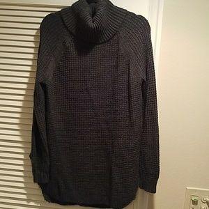 Gray waffle knit turtleneck sweater